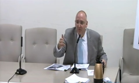 Eric Palatnik testifies before the Subcommittee on Zoning and Franchises on the Sollazzo Plaza rezoning.  Image credit:  NYC.gov